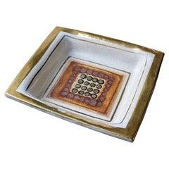 Pelletier Ceramic Vide-Poche or Decorative Dish in Off-White and Gold, France