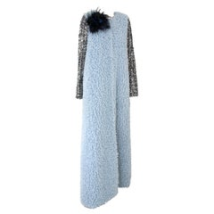 Pelush Baby Blue Faux Fur Caftan Coat with Tweed Sequins Sleeves - Small