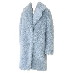 Pelush Baby Blue Faux Fur Coat with Collar- Small