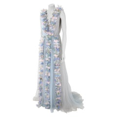Pelush Baby Blue Tulle Dress Gown With Tridimensional Flowers And Faux Feathers