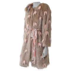Pelush Beige Shaggy Faux Fur Coat with Pink Feathers and Faux Fox Flower - M/S