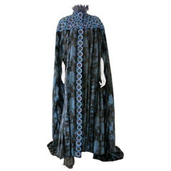 Pelush Black and Blue Faux Fur Couture Opera Coat Cape with Embroidery - Small