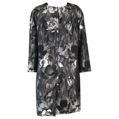 Pelush Black and Silver Brocade Printed Flower Coat - XS