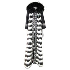 Pelush Black and White Faux Fur Caftan Coat Full-Length w/Hood - Small