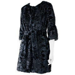 Pelush Black Astrakhan Faux Fur Coat With Belt - Small -  (1/M Available)