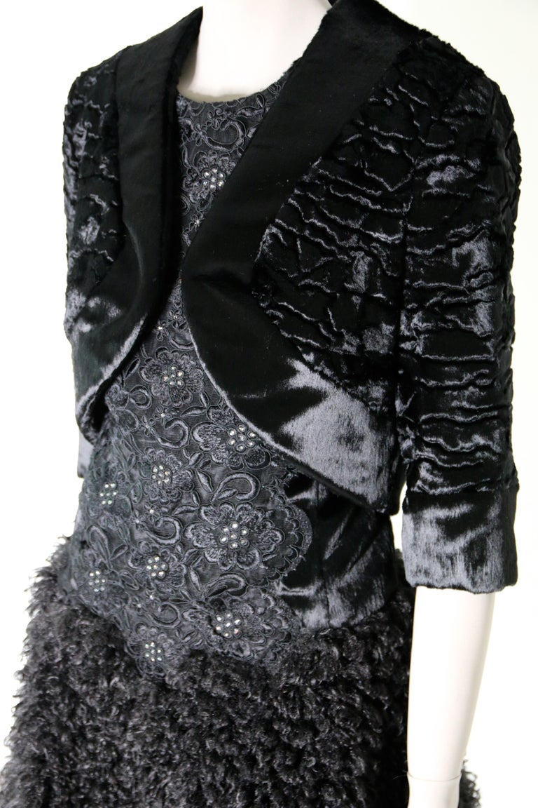 Pelush Black Boucle Faux Fur Dress With Guipure Lace and Swarovski Crystals - S For Sale 6