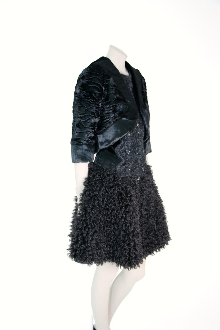 Pelush Black Boucle Faux Fur Dress With Guipure Lace and Swarovski Crystals - S For Sale 7