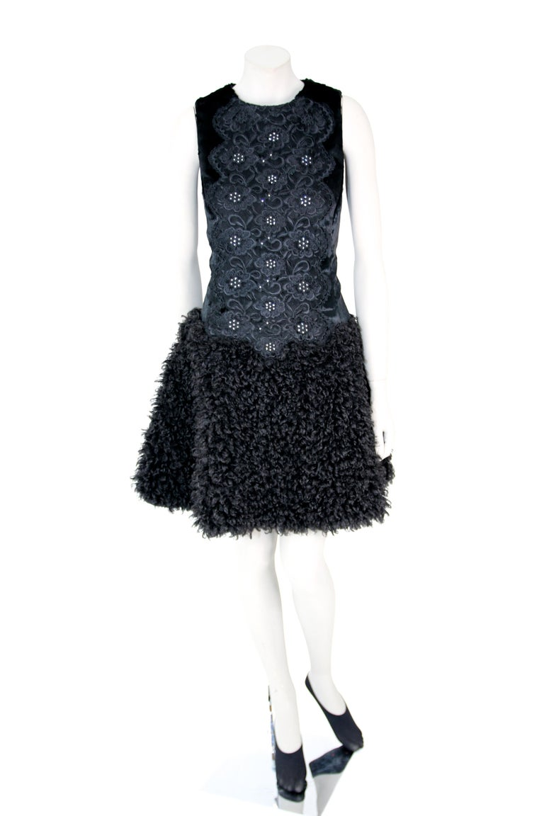 Pelush Black Boucle Faux Fur Dress With Guipure Lace and Swarovski Crystals - S In New Condition For Sale In Greenwich, CT