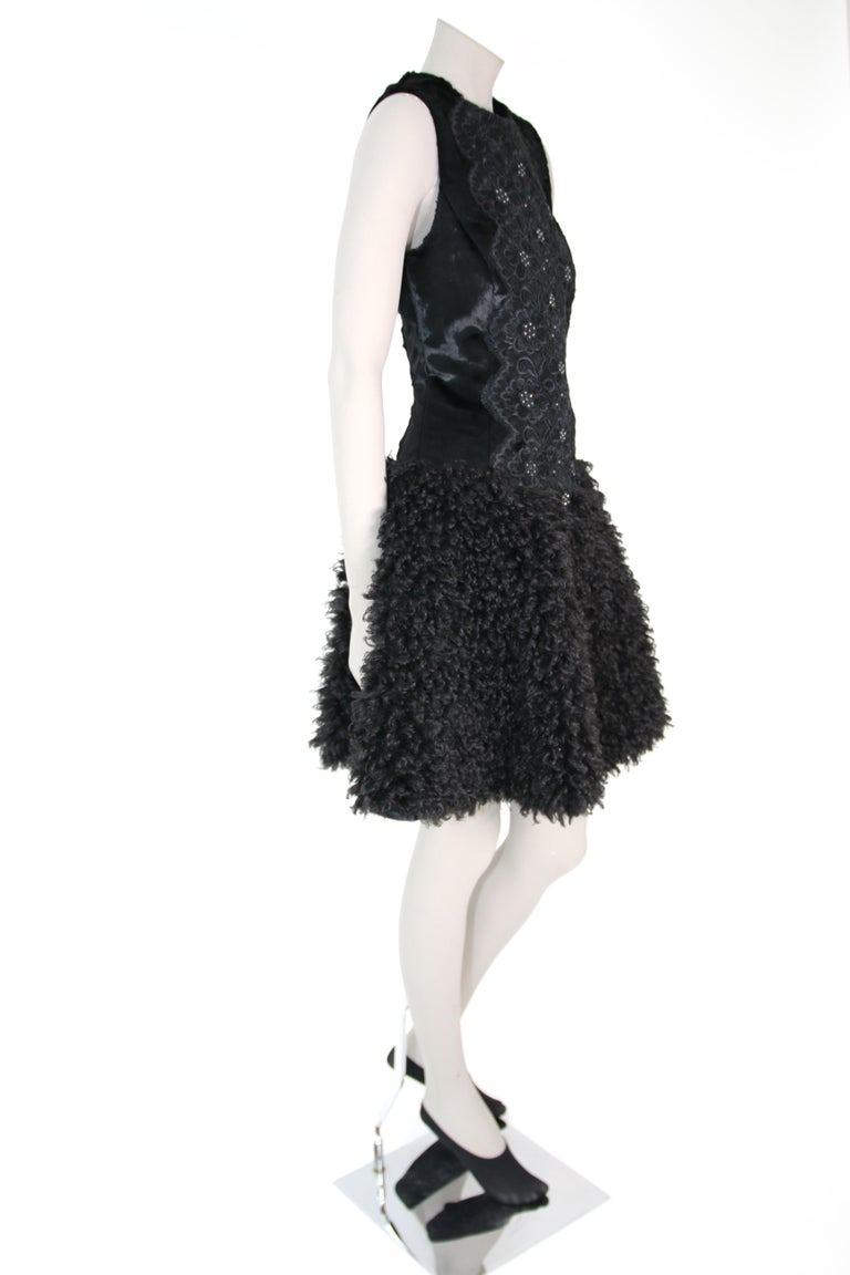 Women's Pelush Black Boucle Faux Fur Dress With Guipure Lace and Swarovski Crystals - S For Sale
