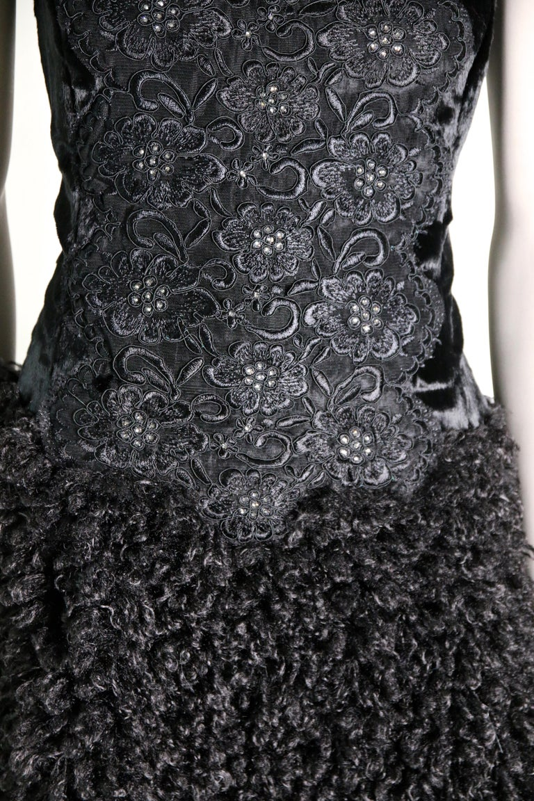 Pelush Black Boucle Faux Fur Dress With Guipure Lace and Swarovski Crystals - S For Sale 1