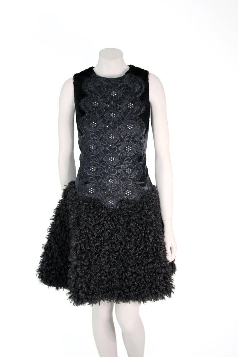 Pelush Black Boucle Faux Fur Dress With Guipure Lace and Swarovski Crystals - S For Sale 2