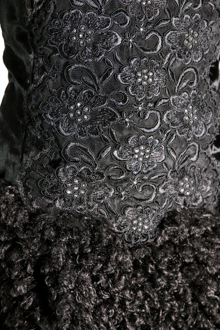 Pelush Black Boucle Faux Fur Dress With Guipure Lace and Swarovski Crystals - S For Sale 3