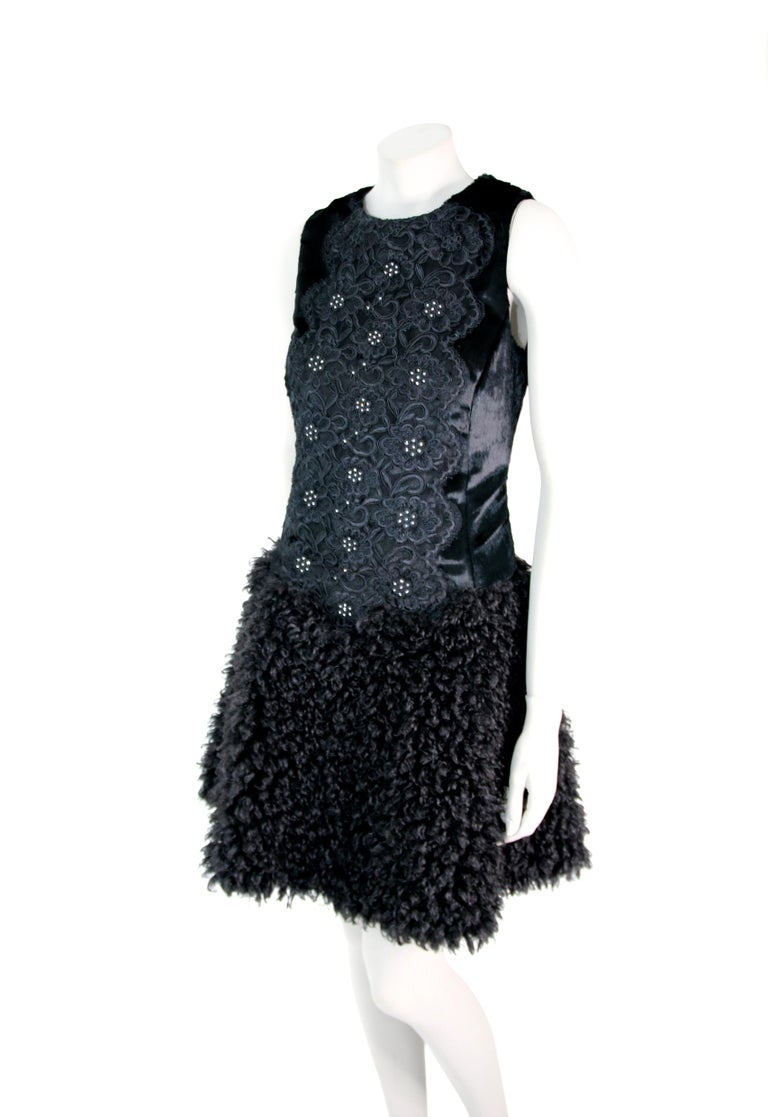 Pelush Black Boucle Faux Fur Dress With Guipure Lace and Swarovski Crystals - S For Sale 4