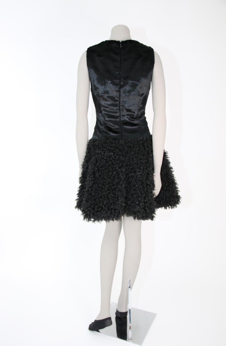 Pelush Black Boucle Faux Fur Dress With Guipure Lace and Swarovski Crystals - S For Sale 5