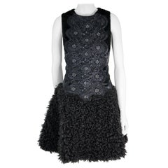 Pelush Black Boucle Faux Fur Dress With Guipure Lace and Swarovski Crystals - S