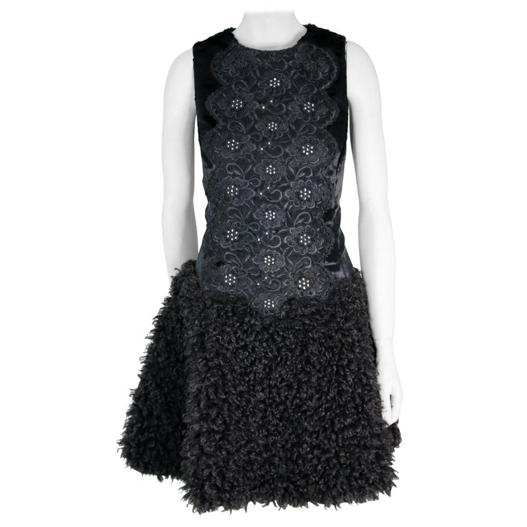 Pelush Black Boucle Faux Fur Dress With Guipure Lace and Swarovski Crystals - S For Sale