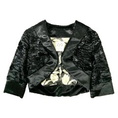 Pelush Black Faux Fur Astrakhan Bolero Jacket - Small