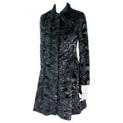 Pelush Black Faux Fur Astrakhan Broadtail Coat - Small  - (1/M - 1/L Available)