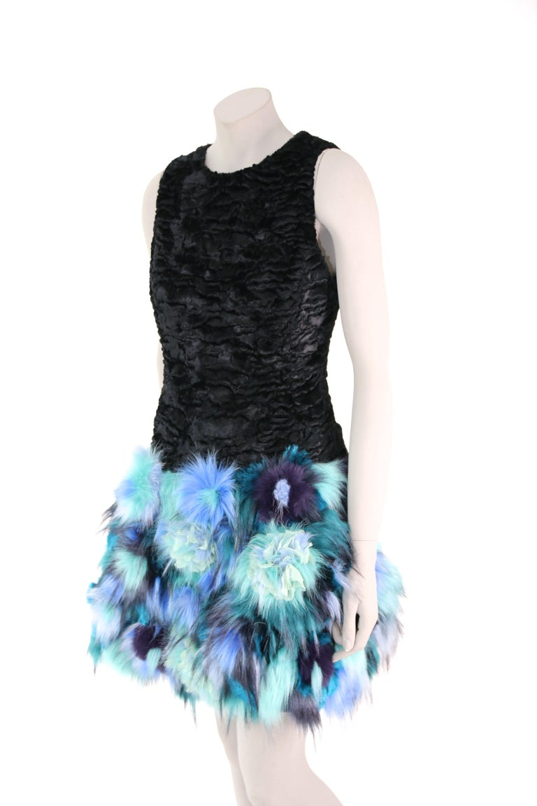 Pelush Black Faux Fur Astrakhan Dress With Three Dimensional Flowers - Small For Sale 6