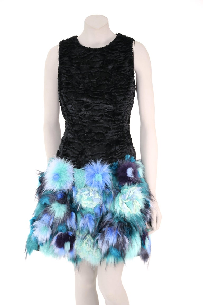 Pelush Black Faux Fur Astrakhan Dress With Three Dimensional Flowers - Small In New Condition For Sale In Greenwich, CT