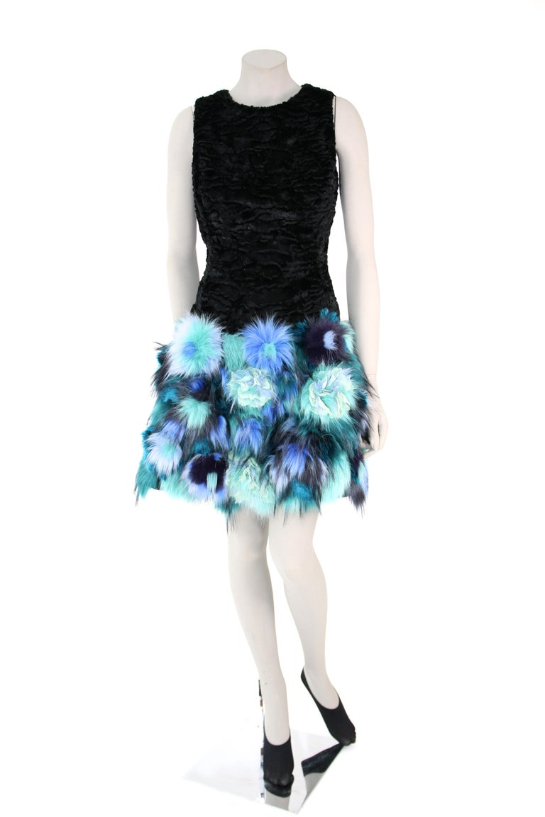 Pelush Black Faux Fur Astrakhan Dress With Three Dimensional Flowers - Small For Sale 2