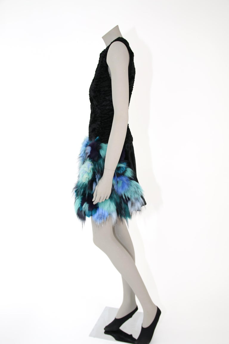 Pelush Black Faux Fur Astrakhan Dress With Three Dimensional Flowers - Small For Sale 3