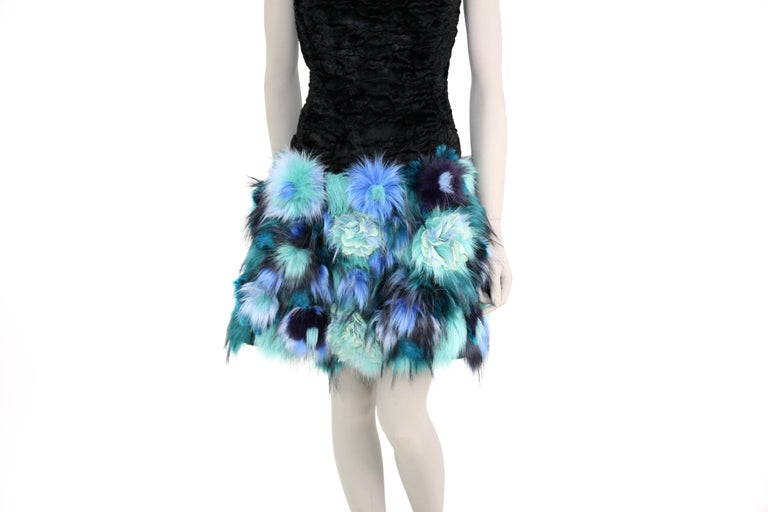 Pelush Black Faux Fur Astrakhan Dress With Three Dimensional Flowers - Small For Sale 4