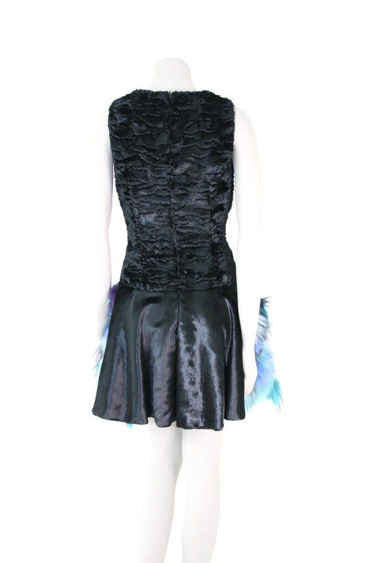 Pelush Black Faux Fur Astrakhan Dress With Three Dimensional Flowers - Small For Sale 5