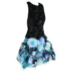 Pelush Black Faux Fur Astrakhan Dress With Three Dimensional Flowers - Small