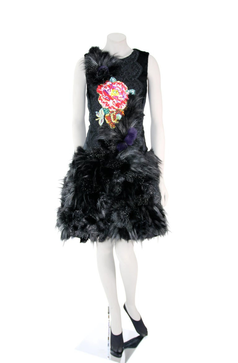 Pelush Black Faux Fur Dress With Three Dimensional Flowers And Embroidery - Sl For Sale 1