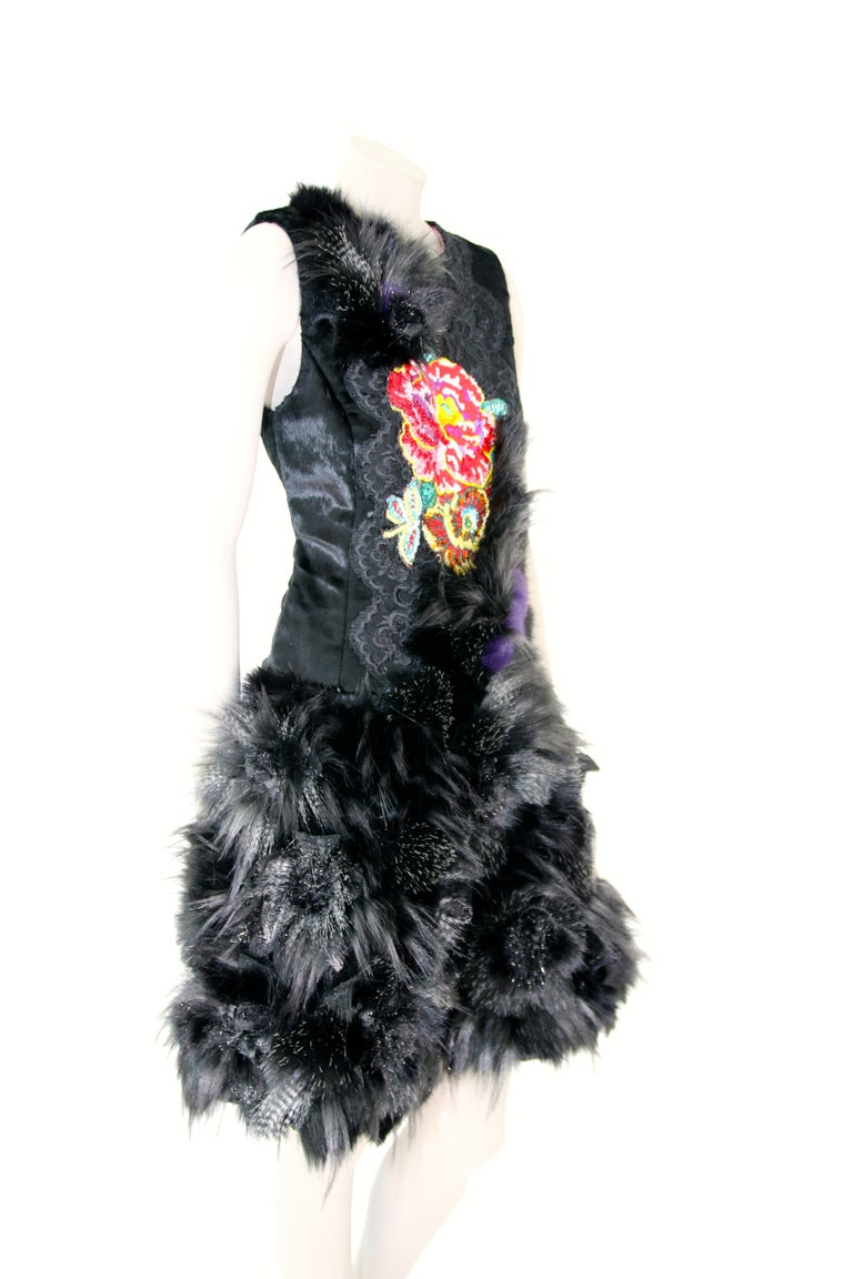 Pelush Black Faux Fur Dress With Three Dimensional Flowers And Embroidery - Sl For Sale 2