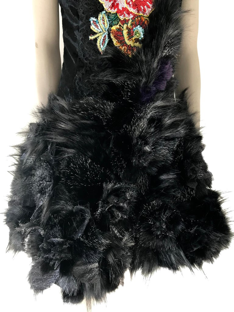 Pelush Black Faux Fur Dress With Three Dimensional Flowers And Embroidery - Sl For Sale 3