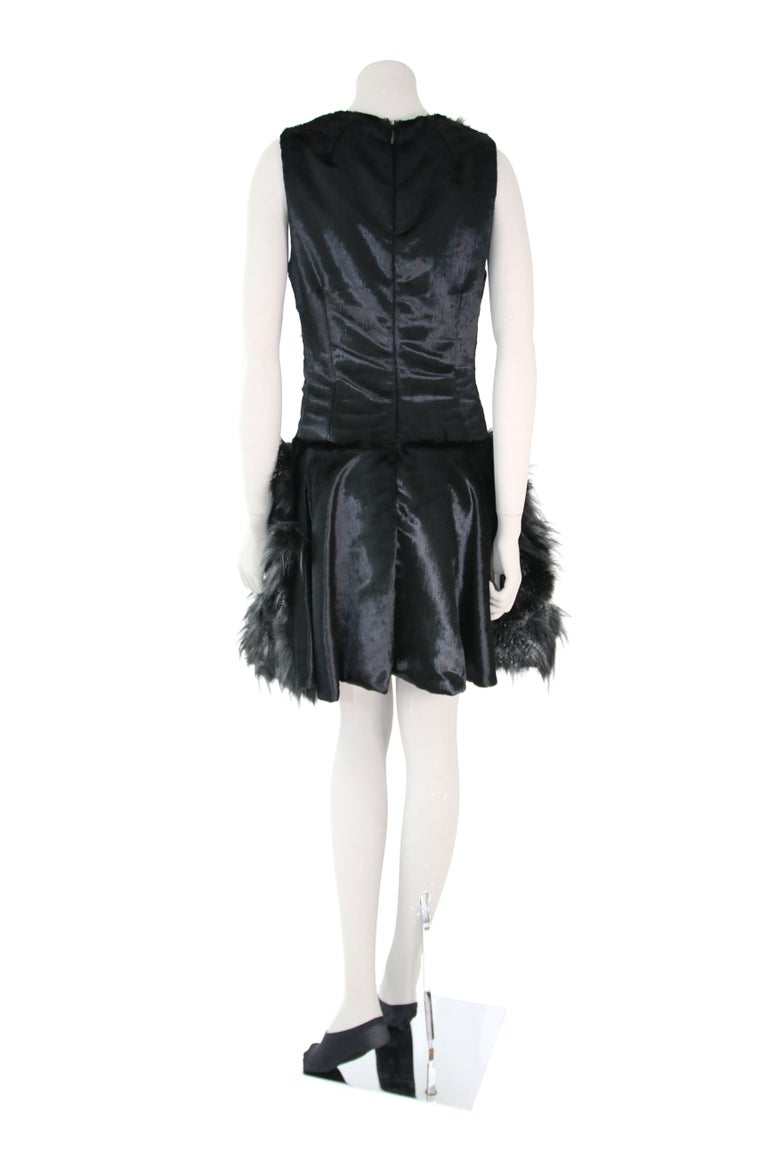 Pelush Black Faux Fur Dress With Three Dimensional Flowers And Embroidery - Sl For Sale 5