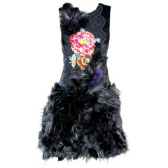Pelush Black Faux Fur Dress With Three Dimensional Flowers And Embroidery - Sl