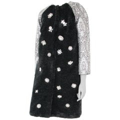 Pelush Black Faux Fur Mink Coat with Vintage Crystals and Damask Brocade - XS