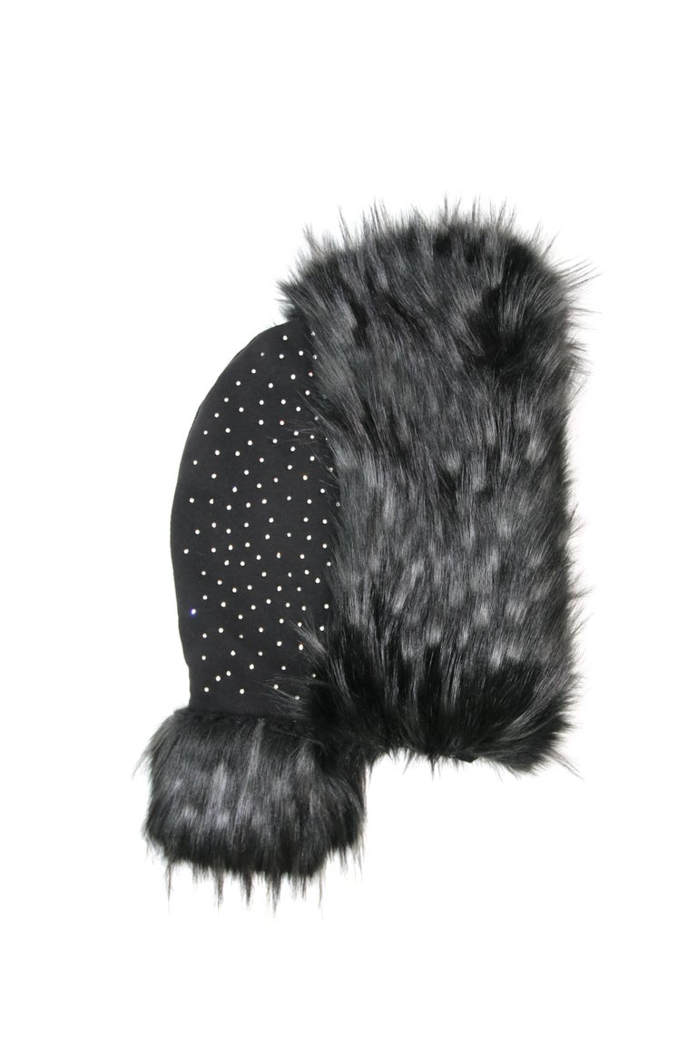 Pelush Black Hood With Faux Fur Fox Trim and Swarovski Crystals - Small In New Condition For Sale In Greenwich, CT