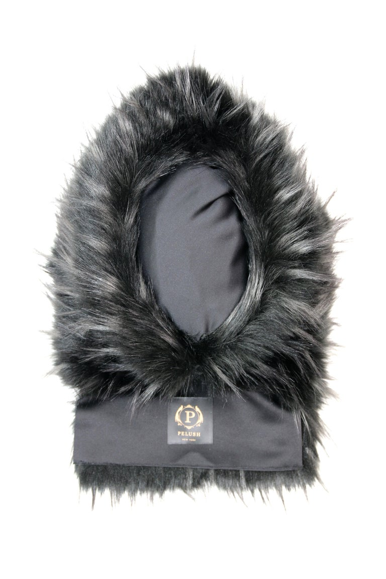 Women's Pelush Black Hood With Faux Fur Fox Trim and Swarovski Crystals - Small For Sale