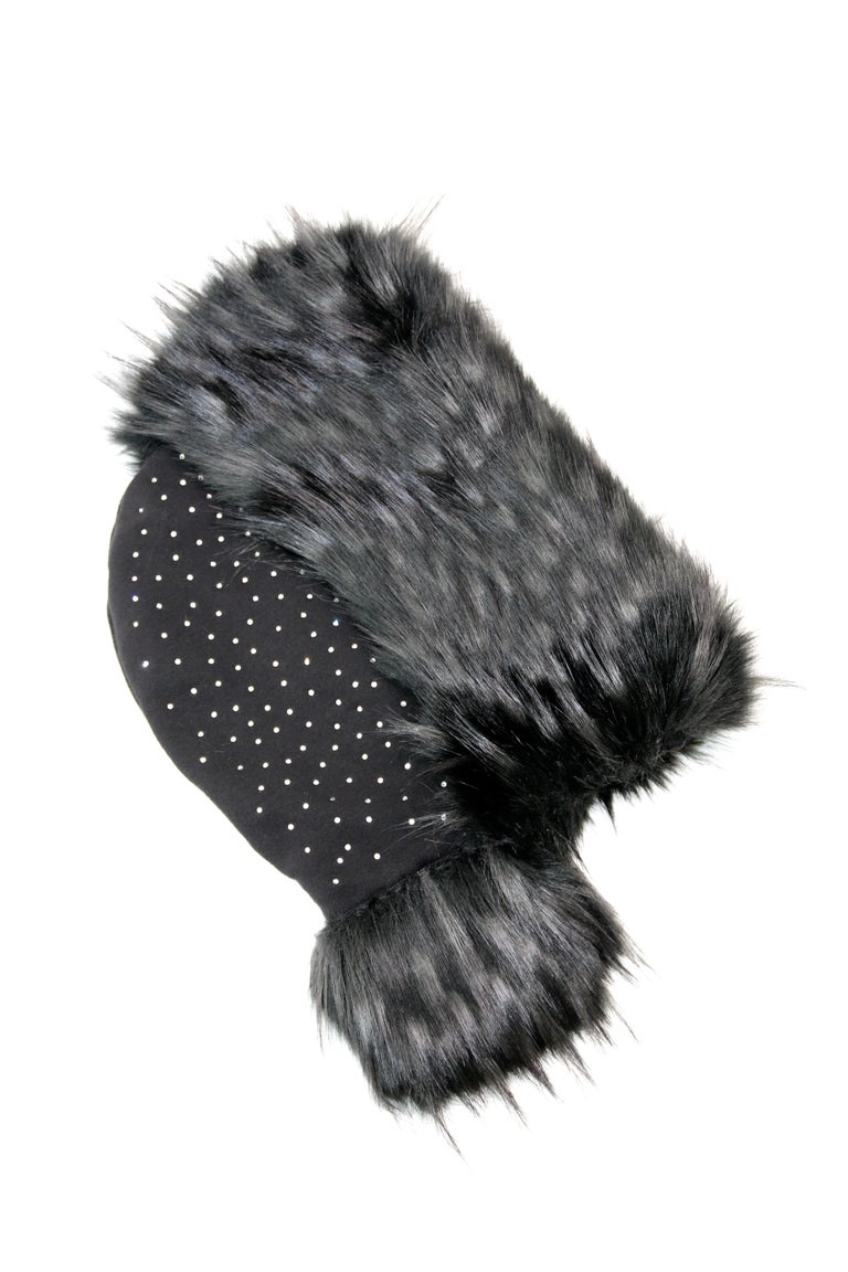 Pelush Black Hood With Faux Fur Fox Trim and Swarovski Crystals - Small For Sale 2