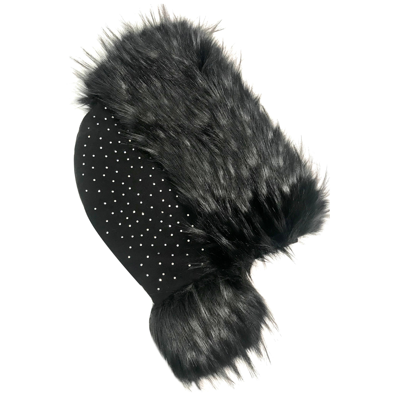 Pelush Black Hood With Faux Fur Fox Trim and Swarovski Crystals - Small
