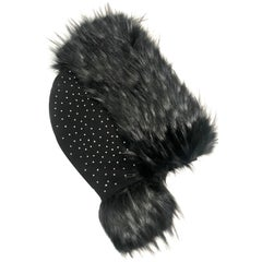 Pelush Black Hood With Faux Fur Fox Trim and Swarovski Crystals - Small
