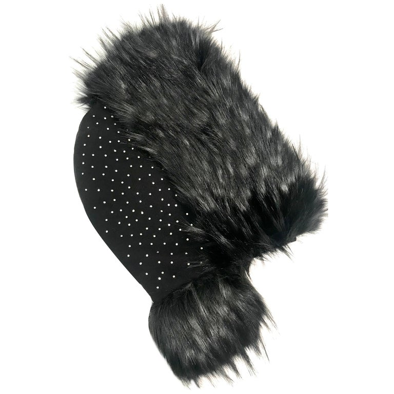 Pelush Black Hood With Faux Fur Fox Trim and Swarovski Crystals - Small For Sale