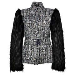 Pelush Black Tweed Jacket With Sequins and Faux Fur Fox Sleeves - X Small