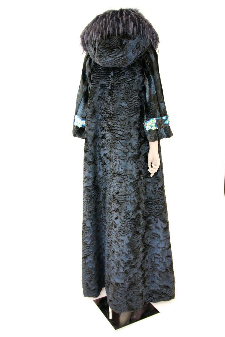 Pelush Blue Faux Fur Astrakhan Caftan Coat W/Embroidery And Detachable Hood - S For Sale 5