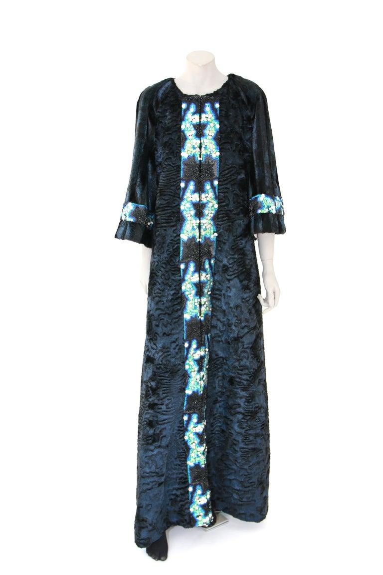 Pelush Blue Faux Fur Astrakhan Caftan Coat W/Embroidery And Detachable Hood - S For Sale 6
