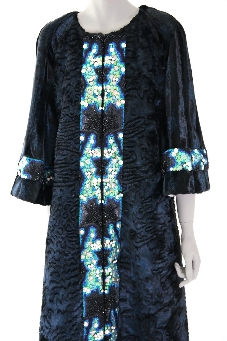 Pelush Blue Faux Fur Astrakhan Caftan Coat W/Embroidery And Detachable Hood - S For Sale 7