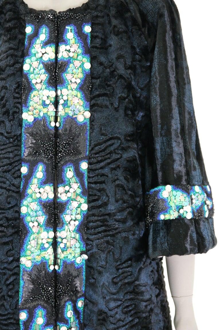 Pelush Blue Faux Fur Astrakhan Caftan Coat W/Embroidery And Detachable Hood - S For Sale 8