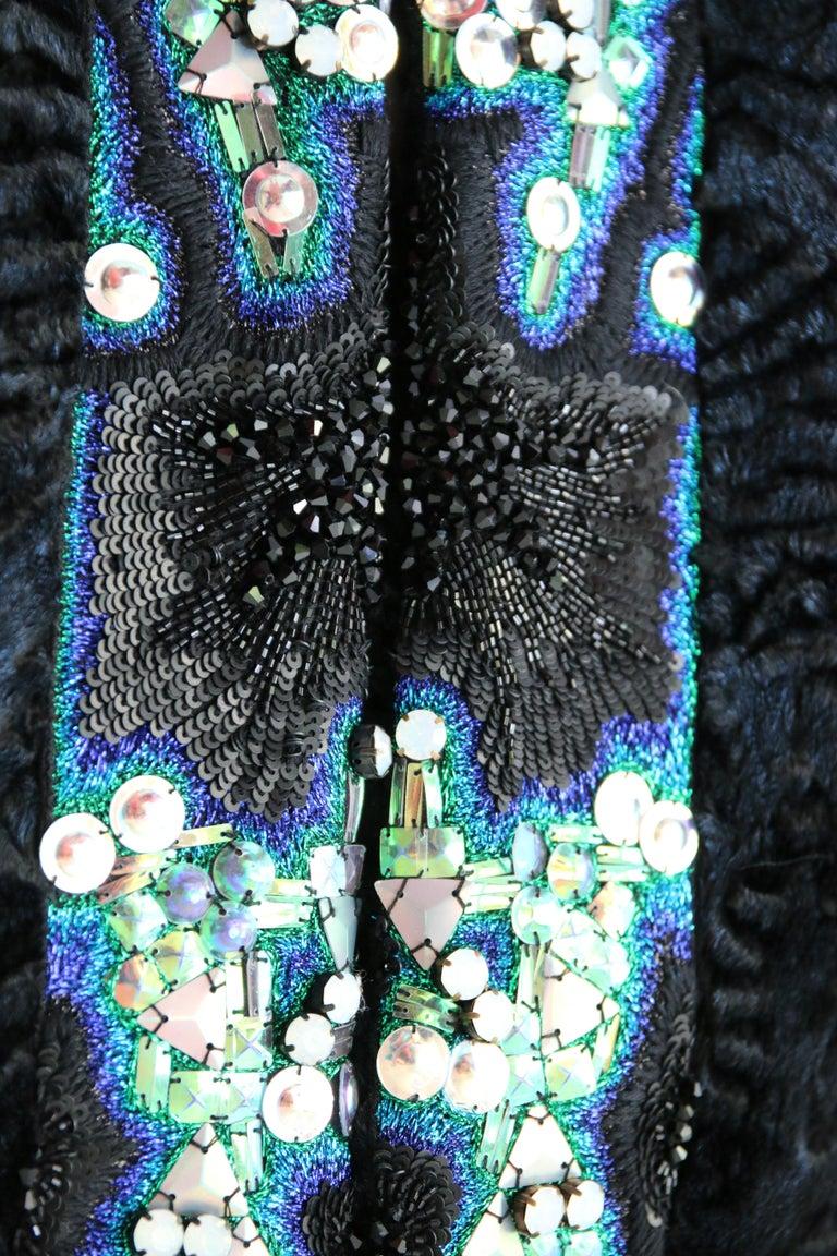 Pelush Blue Faux Fur Astrakhan Caftan Coat W/Embroidery And Detachable Hood - S For Sale 10