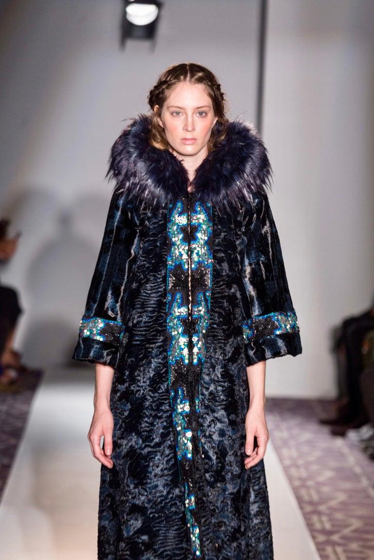 Pelush Blue Faux Fur Astrakhan Caftan Coat W/Embroidery And Detachable Hood - S For Sale 13
