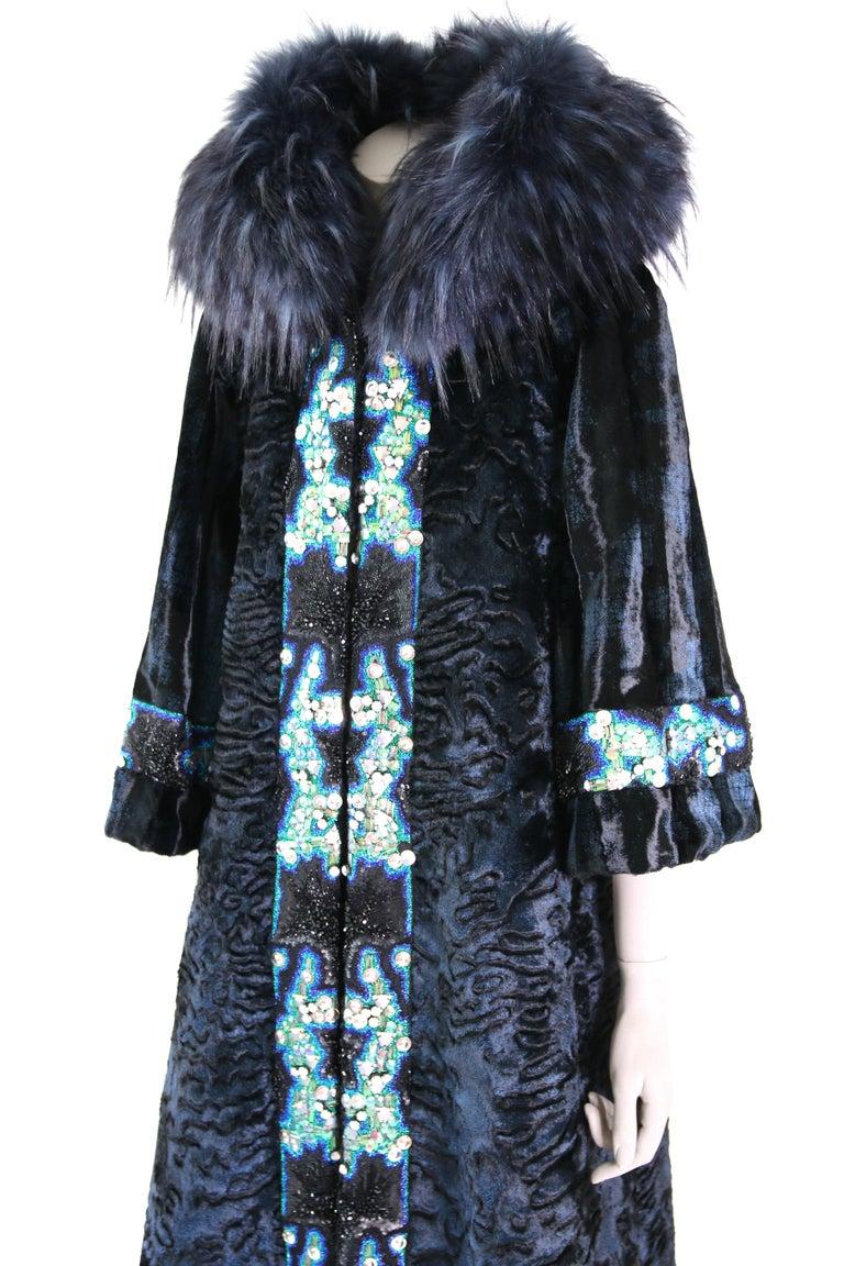 Black Pelush Blue Faux Fur Astrakhan Caftan Coat W/Embroidery And Detachable Hood - S For Sale
