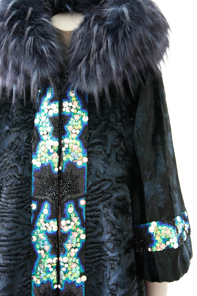 Pelush Blue Faux Fur Astrakhan Caftan Coat W/Embroidery And Detachable Hood - S In New Condition For Sale In Greenwich, CT